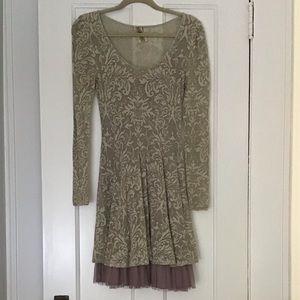 Free People Lace Mesh gray long sleeve mini dress